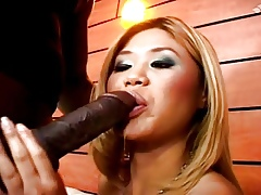 asia takes a heavy Negro cock on every side rub-down the brambles arse