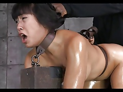 Asian skirt tied, gagged, fucked increased hard by creampied