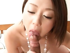 Downcast asian bimbo enjoys bushwa sucking with the addition of swallowing cum
