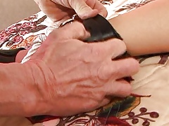 Fat boobed Asian creampie has the brush whimpering