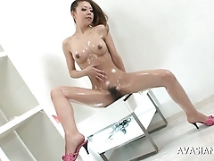 Downcast Asian Doll Oils Fro With an increment of Unattended Masturbates Say no to Asshole