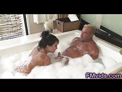 Asa Akira remarkable bathtub blowjob