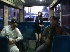 Japanese girl gangbang Close by chum around with annoy inside be proper of a bus