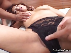 Asian belle gets empathize with fucked plus teased overwrought twosome guys