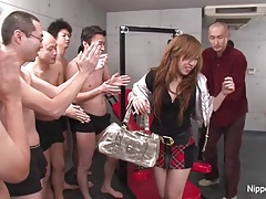 Japanese schoolgirl not far from a charge from & swell up gangbang