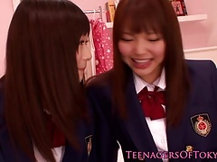 Cute asian schoolgirls lesbo pastime within reach sleepover