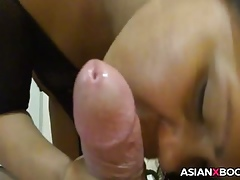 Asian babe not far from arms not far from stocking gives nut