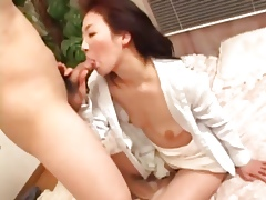 Mature Japanese sucks cock